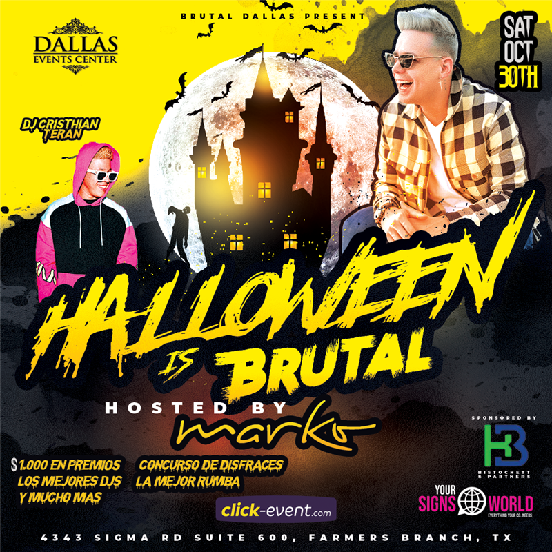 Get Information and buy tickets to Hallowen BRUTAL con Marko - Dallas TX Brutal Dallas on www.click-event.com