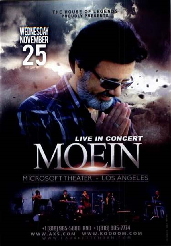 Get Information and buy tickets to LIVE IN CONCERT MOEIN  on 08 Tickets