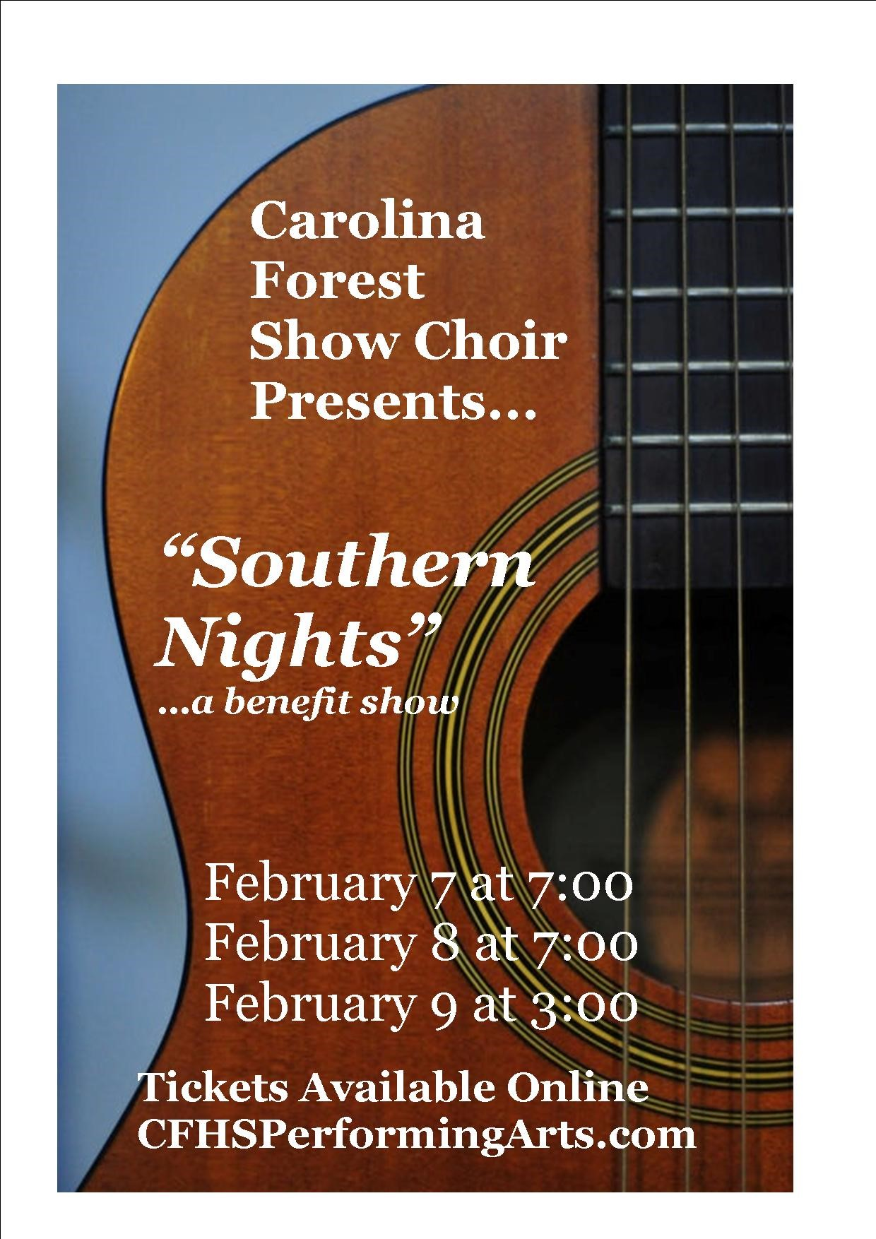 Southern Nights Showcase Benefit Show on Feb 09, 15:00@Carolina Forest HS - Pick a seat, Buy tickets and Get information on Carolina Forest High School Performing Arts cfhsshowtickets.com