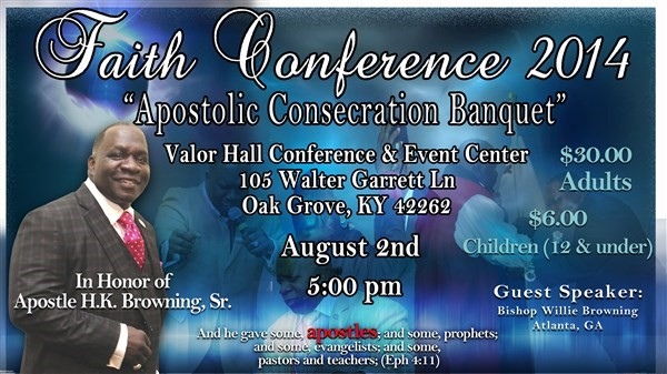 Get Information and buy tickets to Apostolic Consecration Banquet  on www.ticketor.com/faithconference