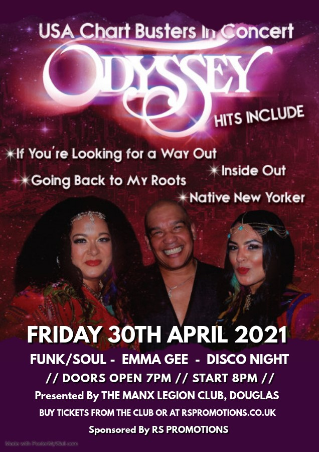 USA Chart Busters QDYSSEY Support By EMMA GEE & Disco on Apr 30, 20:00@The Manx Legion Club - Buy tickets and Get information on RS PROMOTIONS