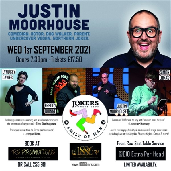 JOKERS Comedy Club at 1886 Bar & Grill, Douglas, IOM 1st Sept 2021  on Sep 01, 20:00@1886 Bar, Grill & Cocktail Lounge - Buy tickets and Get information on RS PROMOTIONS