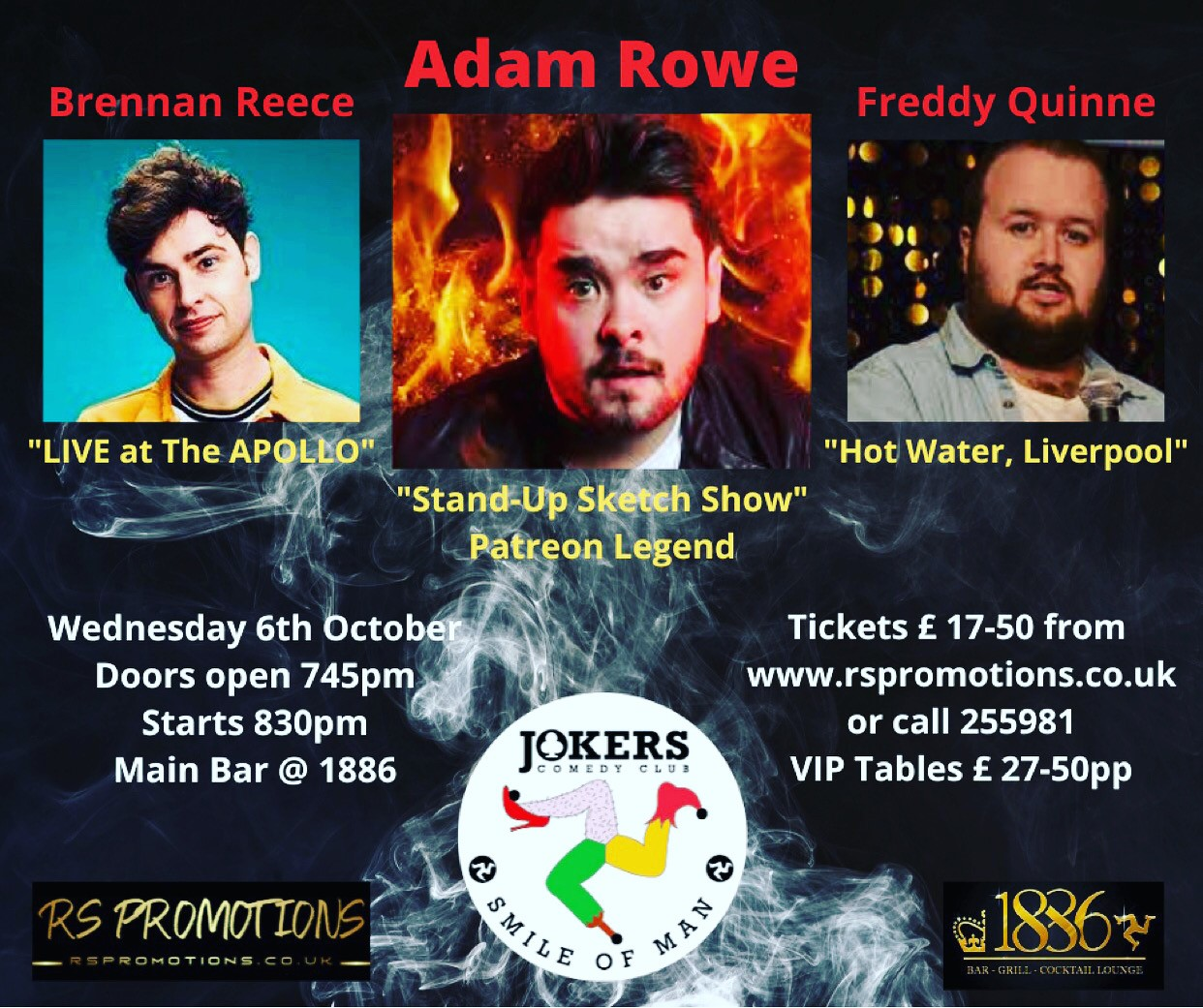 JOKERS COMEDY CLUB IOM - Featuring ADAM ROWE - 6th Oct 2021  on Oct 06, 20:15@1886 BAR & GRILL - Buy tickets and Get information on RS PROMOTIONS
