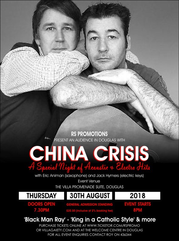 Get Information and buy tickets to AN AUDIENCE IN DOUGLAS WITH CHINA CRISIS A Special Night of Acoustic & Electro Hits on RS PROMOTIONS