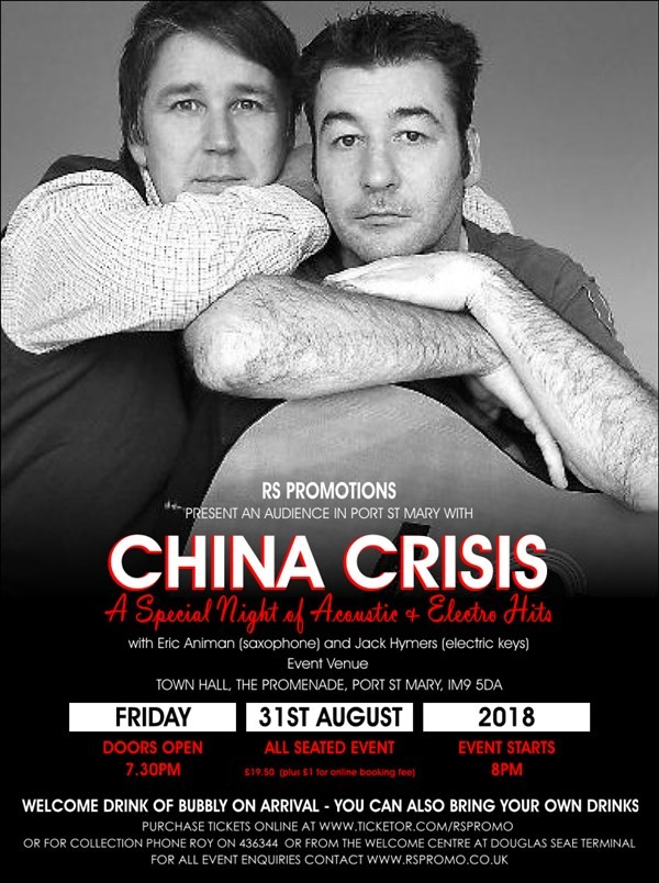 Get Information and buy tickets to AN AUDIENCE IN PORT ST MARY WITH CHINA CRISIS A Special Night of Acoustic & Electro Hits on RS PROMOTIONS