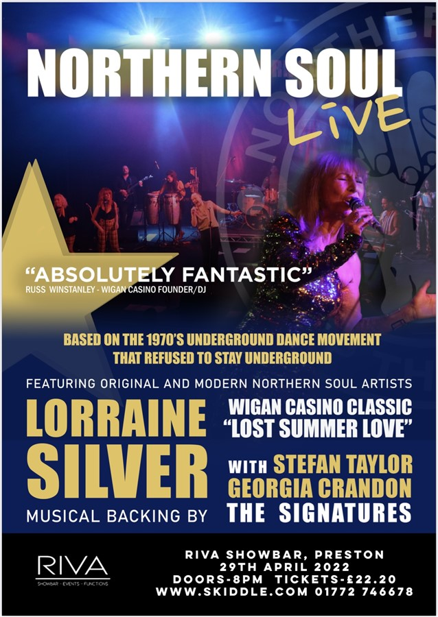 Get Information and buy tickets to Northern Soul Live! Featuring The Signatures with Stefan Taylor and Lorraine Silver Plus After Show DJ Musiic by Wigan Casino Legends Russ Winstanley & Alan King on RS PROMOTIONS