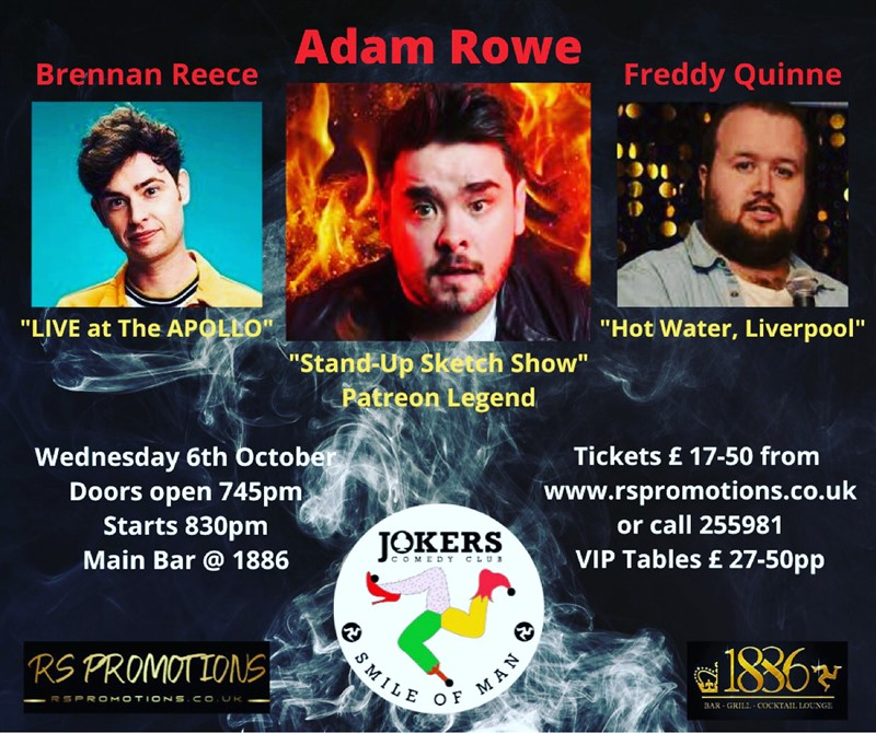 Get Information and buy tickets to JOKERS COMEDY CLUB IOM - Featuring ADAM ROWE - 6th Oct 2021  on RS PROMOTIONS