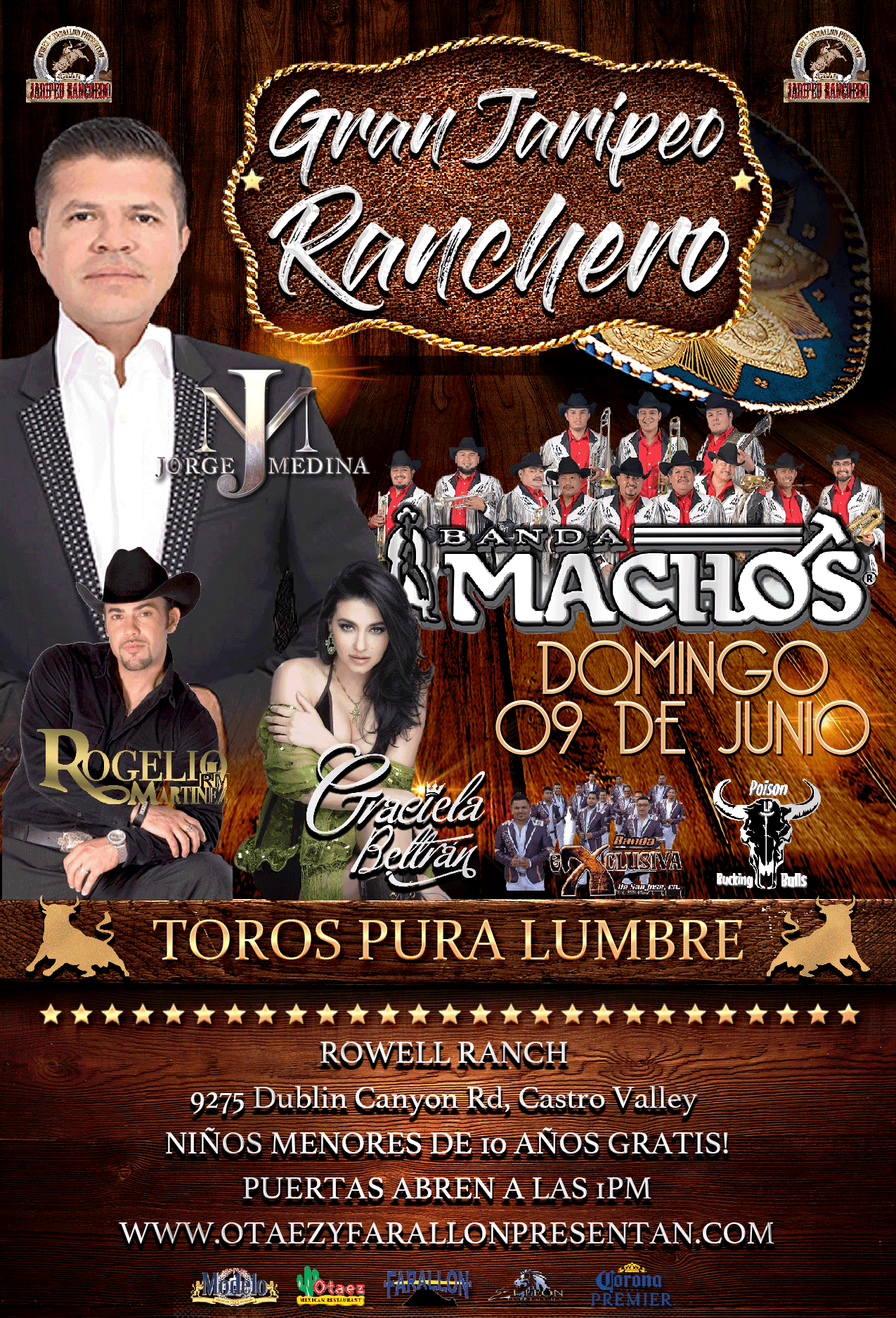 Gran Jaripeo Ranchero | Domingo 09 De Junio Jorge Medina|Banda Machos|Graciela Beltran|Rogelio Martinez on Jun 09, 13:00@Rowell Ranch - Buy tickets and Get information on otaezyfarallonpresentan otaezyfarallonpresentan