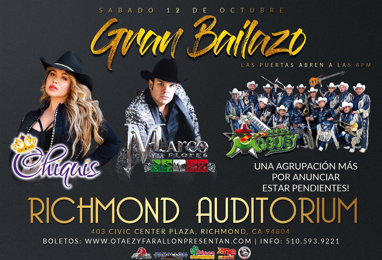 GRAN BAILAZO | Sábado 12 De Octubre Richmond Memorial Auditorium on Oct 12, 18:30@RICHMOND MEMORIAL AUDITORIUM - Buy tickets and Get information on otaezyfarallonpresentan otaezyfarallonpresentan