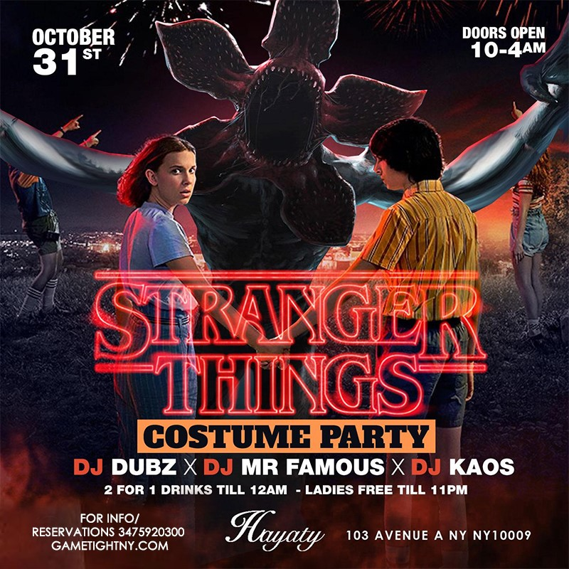 Hayaty NYC Stranger Things Halloween Costume Party Hayaty NYC Stranger Things Halloween Costume Party on Oct 31, 22:00@Hayaty NYC - Buy tickets and Get information on GametightNY