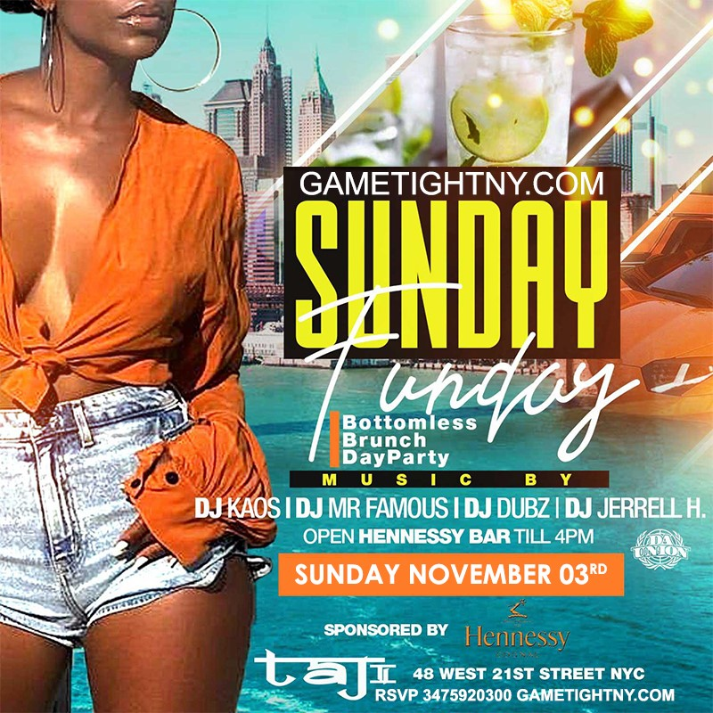 Taj Lounge NYC Hip Hop vs. Reggae Sunday Funday Brunch & FRE Taj Lounge NYC Hip Hop vs. Reggae Sunday Funday Brunch & FRE on Nov 03, 14:00@Taj Lounge - Buy tickets and Get information on GametightNY
