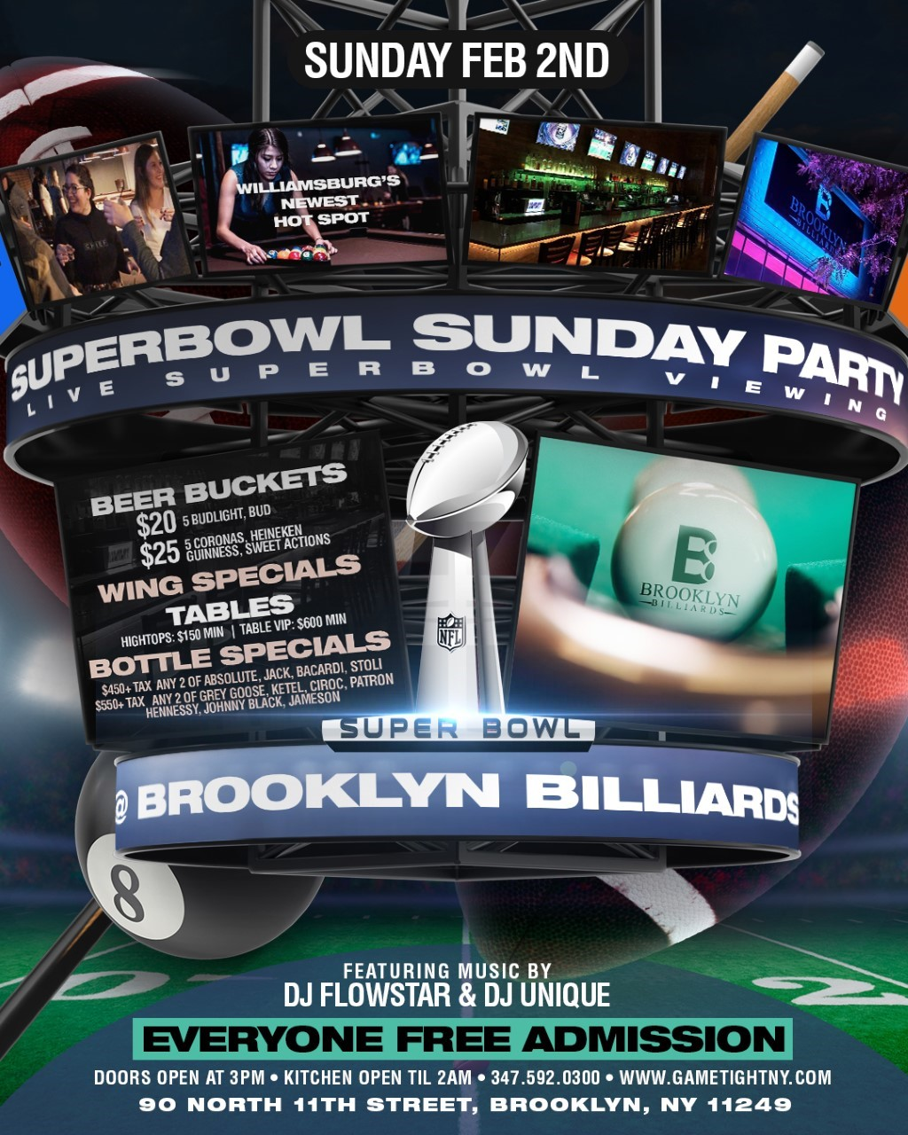 Brooklyn Billiards Superbowl Sunday Viewing party 2020 Brooklyn Billiards Superbowl Sunday Viewing party 2020 on Feb 02, 15:00@Brooklyn Billiards - Buy tickets and Get information on GametightNY