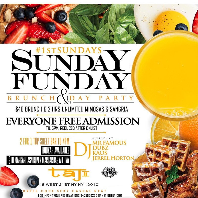 Taj Lounge NYC Hip Hop vs. Reggae Sunday Funday Brunch Party Taj Lounge NYC Hip Hop vs. Reggae Sunday Funday Brunch Party on Apr 05, 14:00@Skyport Marina - Buy tickets and Get information on GametightNY