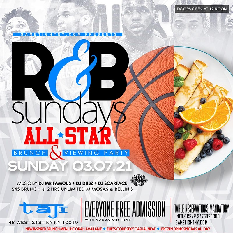 Taj Lounge NYC Sunday Brunch Hip Hop vs. Reggae® & R&B Day Party Taj Lounge NYC Sunday Brunch Hip Hop vs. Reggae® & R&B Day Party on mar. 07, 13:00@Taj Lounge - Buy tickets and Get information on GametightNY