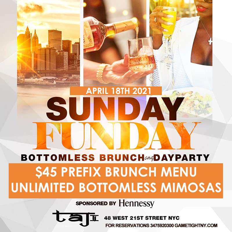 R&B Sunday Bottomless Brunch & Day Party at Taj Lounge NYC 2021 R&B Sunday Bottomless Brunch & Day Party at Taj Lounge NYC 2021 on Apr 18, 13:00@Taj Lounge - Buy tickets and Get information on GametightNY