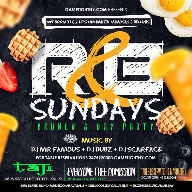 Taj Lounge Sunday Brunch 2021 Taj Lounge Sunday Brunch 2021 on abr. 25, 13:00@Taj Lounge - Buy tickets and Get information on GametightNY