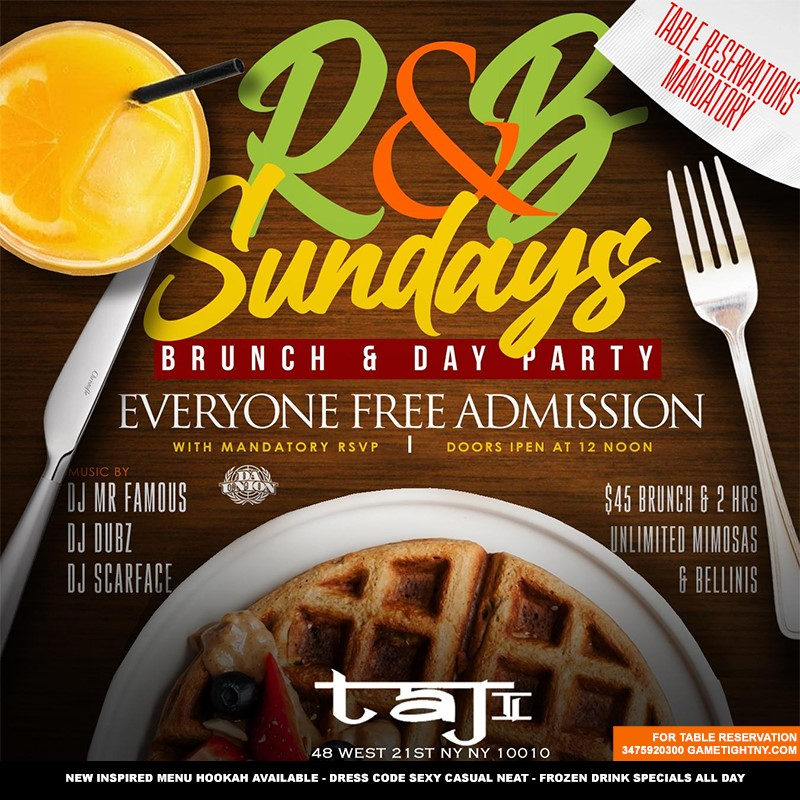 Sunday at Taj Lounge NYC Brunch Sunday at Taj Lounge NYC Brunch on May 09, 13:00@Taj Lounge - Buy tickets and Get information on GametightNY