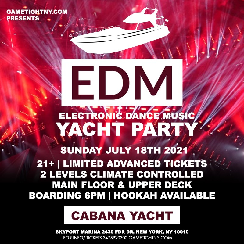 Manhattan EDM Sunday Sunset Yacht Cruise Skyport Marina Cabana Yacht Manhattan EDM Sunday Sunset Yacht Cruise Skyport Marina Cabana Yacht on Jul 18, 18:00@Skyport Marina - Buy tickets and Get information on GametightNY