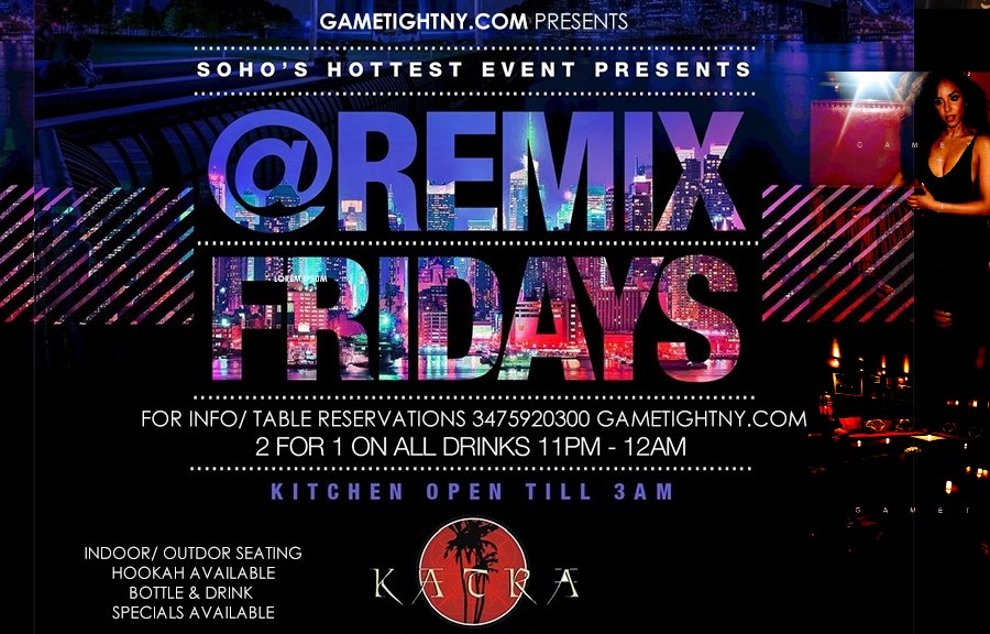 Katra Lounge NYC Remix Fridays 3475920300  on Sep 24, 17:00@Katra Lounge - Buy tickets and Get information on GametightNY