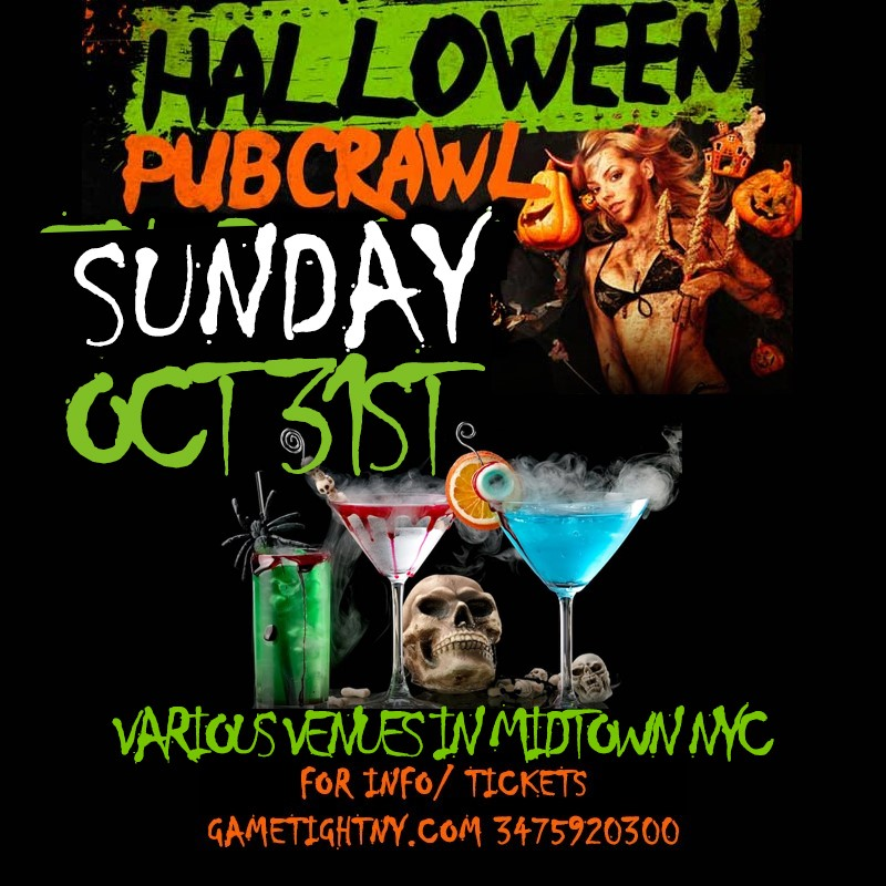 NYC Halloween Pub Crawl 2021 only $15  on Oct 31, 17:00@Iron Bar & Lounge - Buy tickets and Get information on GametightNY
