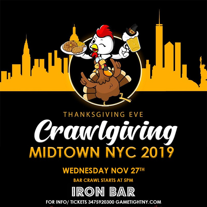 Get Information and buy tickets to Iron Bar Thanskgiving Eve party 2019 Iron Bar Thanskgiving Eve party 2019 on GametightNY
