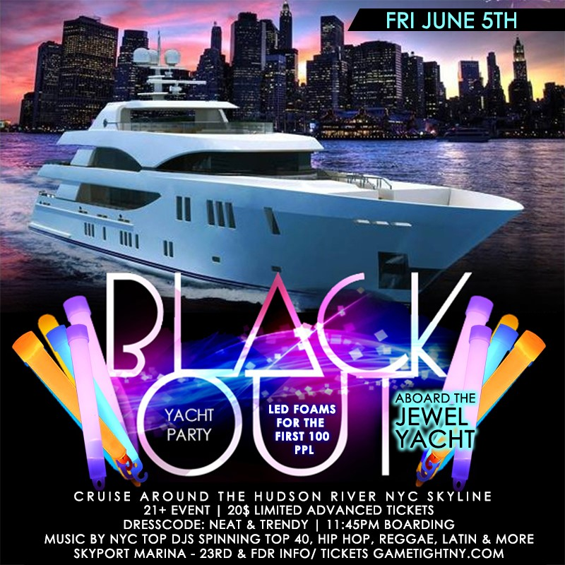 Get Information and buy tickets to NYC Booze Cruise Glowsticks Yacht Party at Skyport Marina Je NYC Booze Cruise Glowsticks Yacht Party at Skyport Marina Je on Mr Davis Productions, Inc.