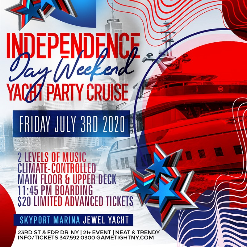 Get Information and buy tickets to NYC Independence Day Weekend Yacht Party Cruise at Skyport M NYC Independence Day Weekend Yacht Party Cruise at Skyport M on Mr Davis Productions, Inc.