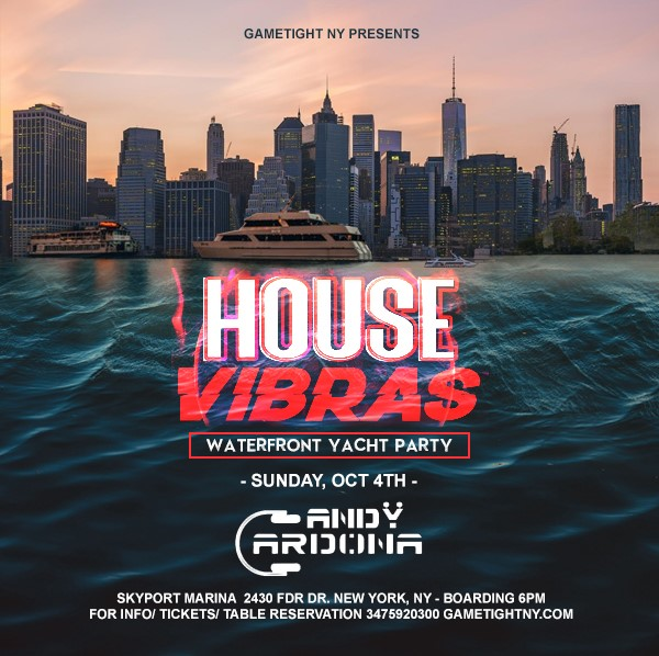 Get Information and buy tickets to House Sunset Yacht Party End of Summer at Skyport Marina Jewel Yacht House Sunset Yacht Party End of Summer at Skyport Marina Jewel Yacht on Olympus Rap Battle League LLC