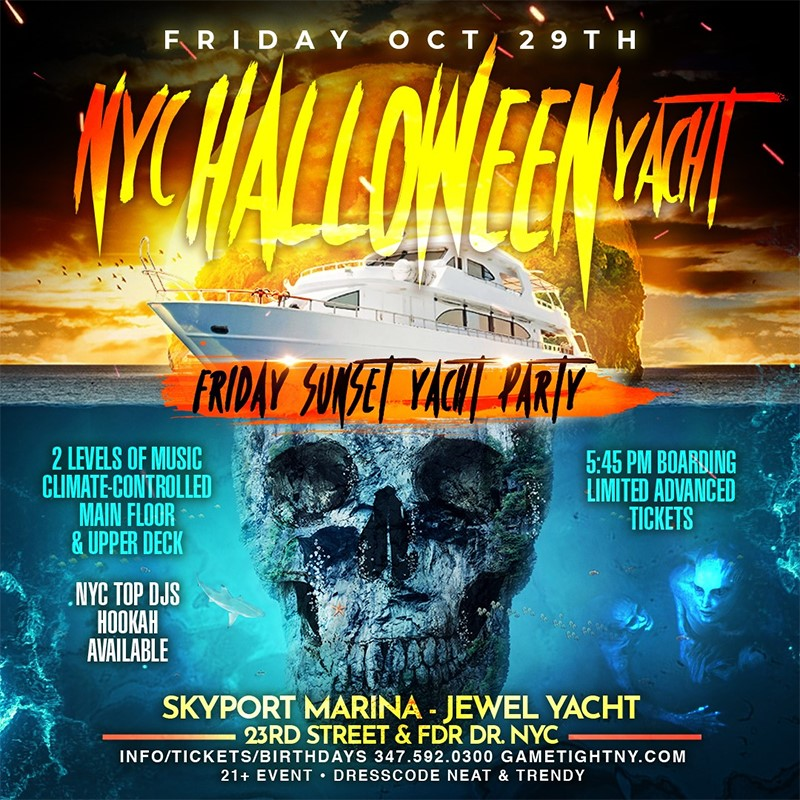 Get Information and buy tickets to NYC Halloween Friday Sunset Ghost Yacht Cruise Skyport Marina Jewel Yacht  on Olympus Rap Battle League LLC