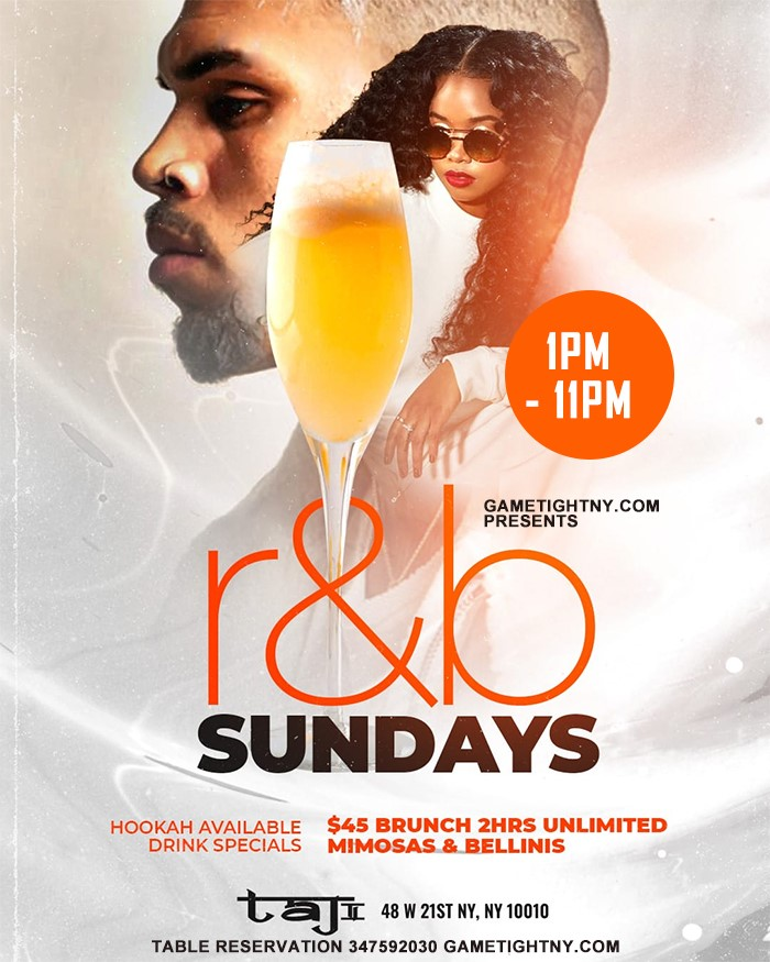 Get Information and buy tickets to Taj Lounge Sunday R&B Brunch Reservation  on Olympus Rap Battle League LLC
