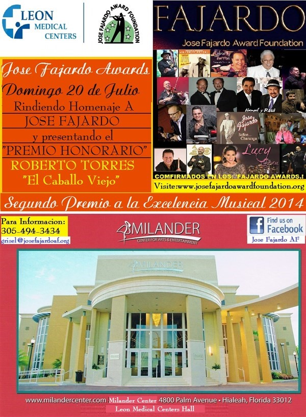 "Get Information and buy tickets to JOSE FAJARDO AWARDS 2014 At ""MILANDER CENTER"" on Jose Fajardo Award Foundation"
