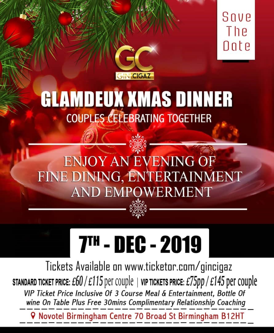 GlamDeux Xmas Party Couples on Dec 07, 17:00@Novotel Birmingham Centre - Buy tickets and Get information on www.gincigaz.com