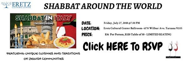 Get Information and buy tickets to Shabbat Around the World Shabbat in Italy on EretzCC