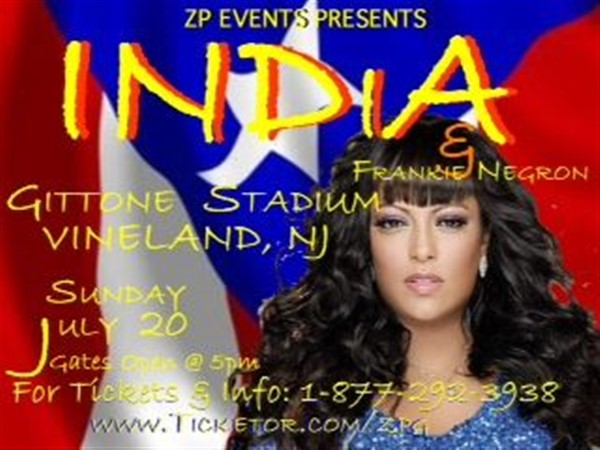 Get Information and buy tickets to India Live In Concert Sunday July 20th 7 PM Vineland, NJ Sponsored By Landis Pig Roast Gates Open @ 4PM on Zion Productions