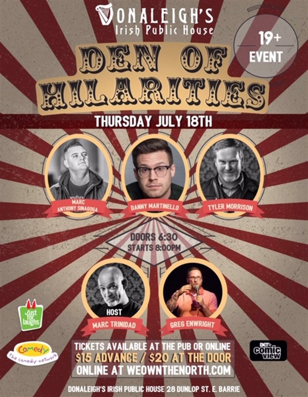 Donaleigh's Den of Hilarities Live Stand Up Comedy on Jul 18, 20:00@Donaleigh's Irish Pub - Buy tickets and Get information on Marc Trinidad Ent