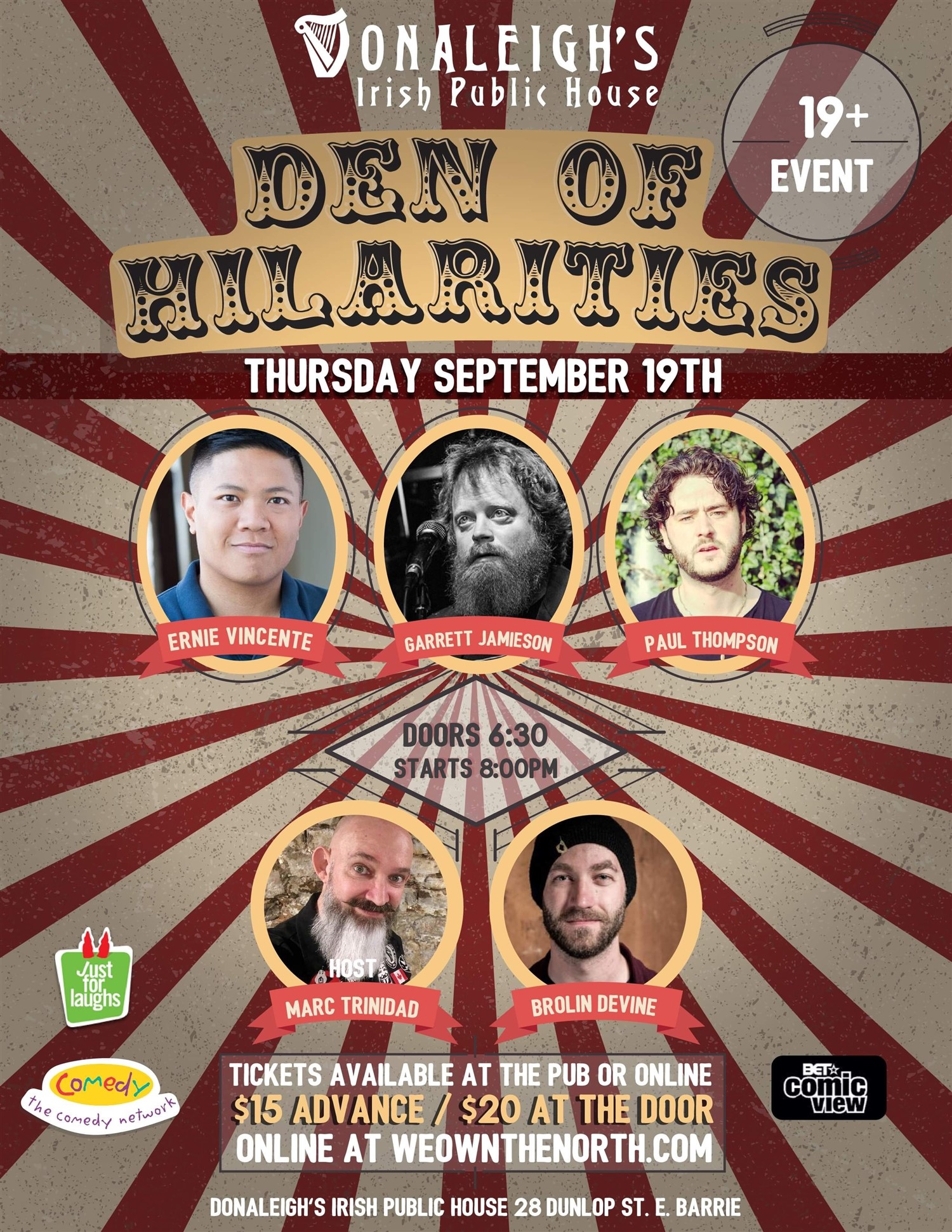 Donaleigh's Den of Hilarities Live Stand Up Comedy on Aug 15, 20:00@Donaleigh's Irish Pub - Buy tickets and Get information on Marc Trinidad Ent