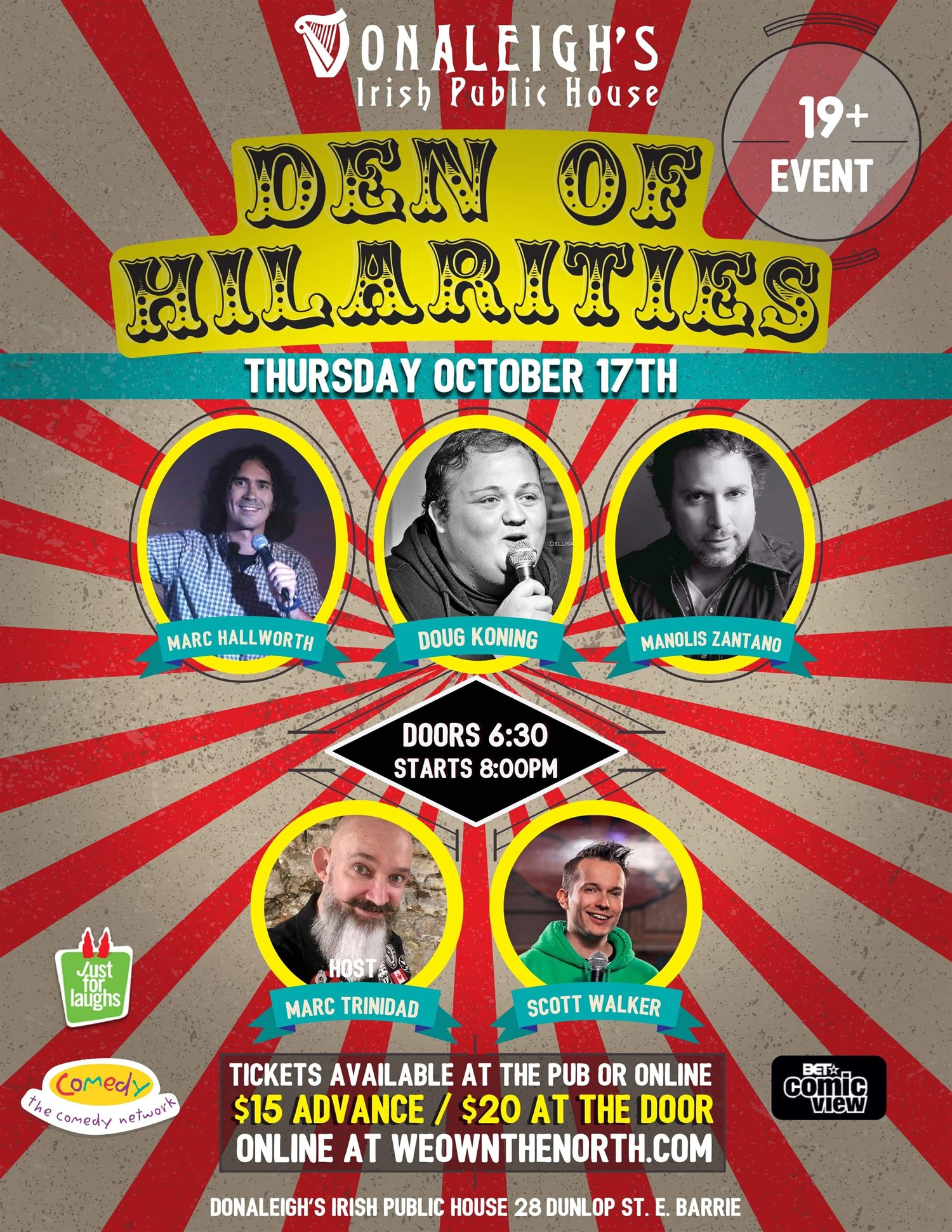 Donaleigh's Den of Hilarities Live Stand Up Comedy on Oct 17, 20:00@Donaleigh's Irish Pub - Buy tickets and Get information on Marc Trinidad Ent