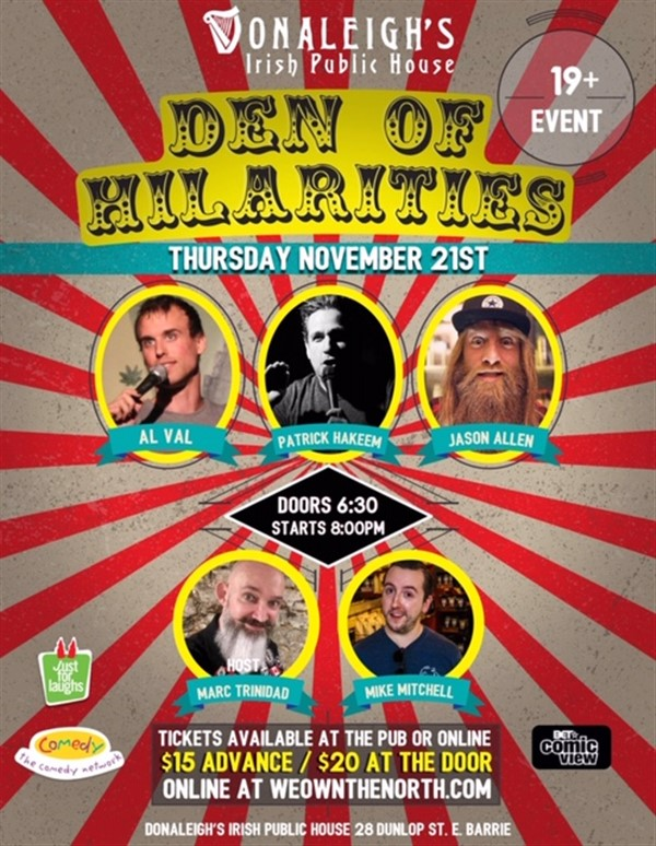 Donaleigh's Den of Hilarities Live Stand Up Comedy on Nov 21, 20:00@Donaleigh's Irish Pub - Buy tickets and Get information on Marc Trinidad Ent