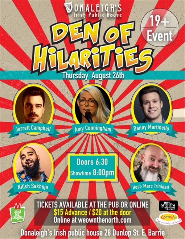 Donaleigh's Den of Hilarities Live Stand Up Comedy on Aug 26, 20:00@Donaleigh's Irish Pub - Buy tickets and Get information on Marc Trinidad Ent