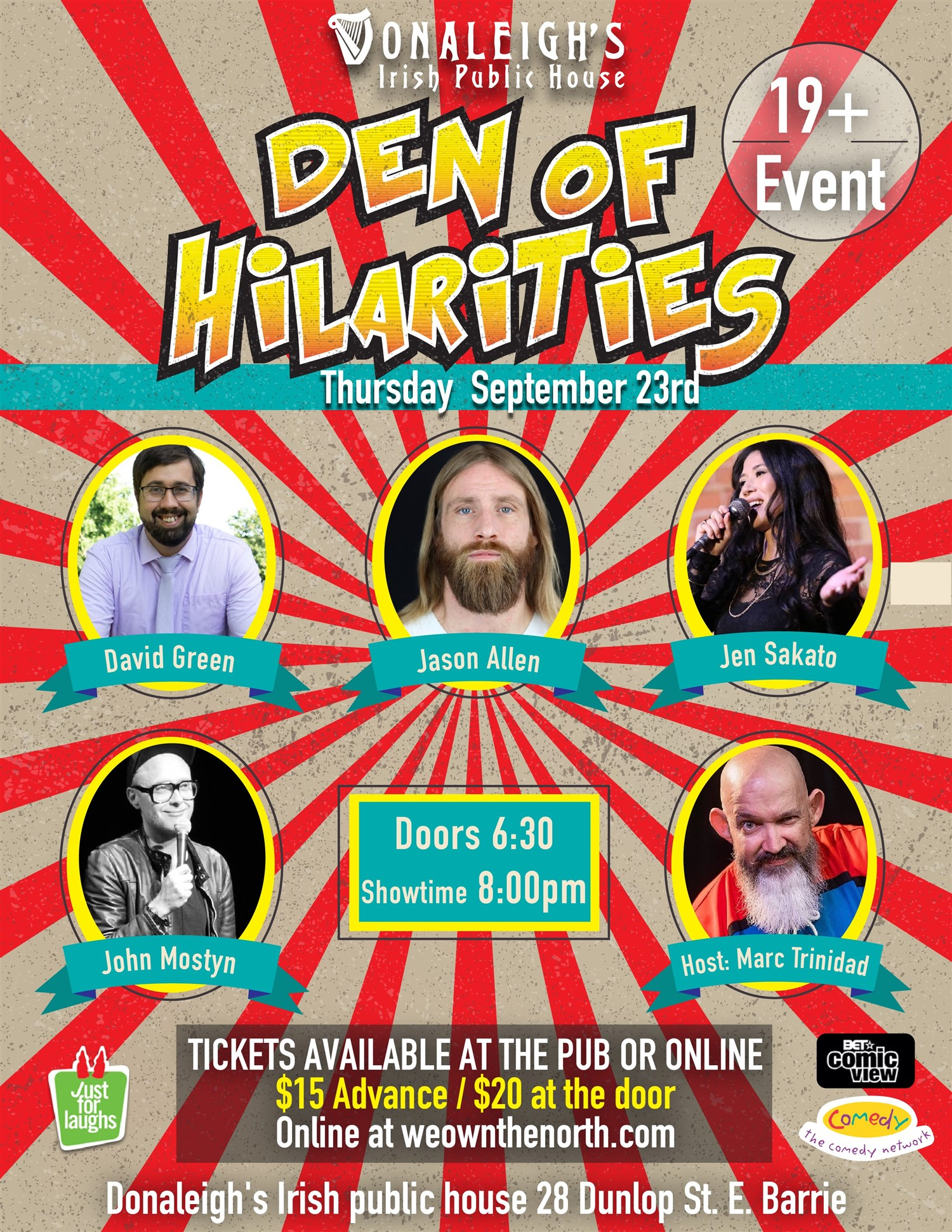 Donaleigh's Den of Hilarities Stand up Comedy on Sep 23, 20:00@Donaleigh's Irish Pub - Buy tickets and Get information on Marc Trinidad Ent