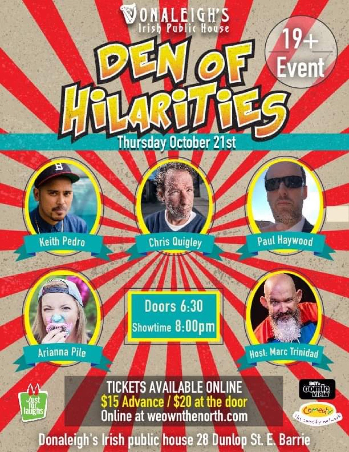 Donaleigh's Den of Hilarities Stand up Comedy Show on Oct 21, 20:00@Donaleigh's Irish Pub - Buy tickets and Get information on Marc Trinidad Ent