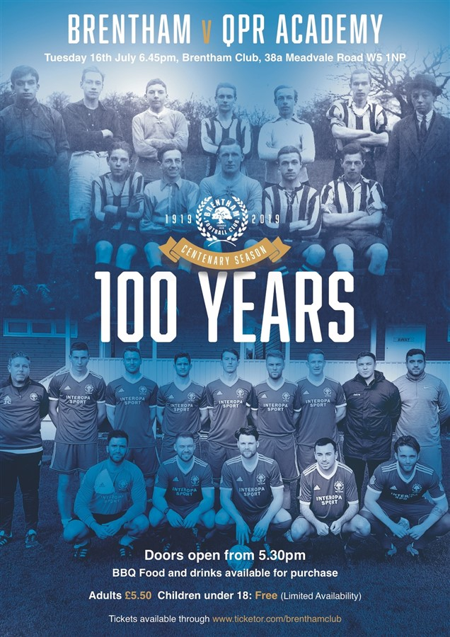 Get Information and buy tickets to Brentham V QPR Academy Centenary Match on Brenthamclub.co.uk