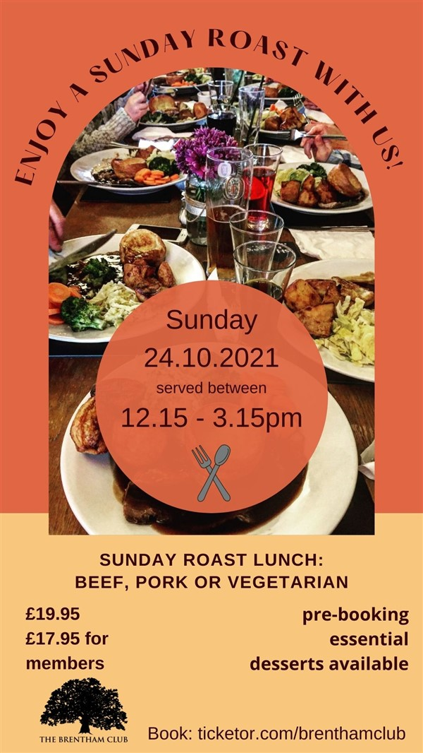 Get Information and buy tickets to Sunday Roast Lunch Choose between Beef, Pork & Vegetarian on Brenthamclub.co.uk