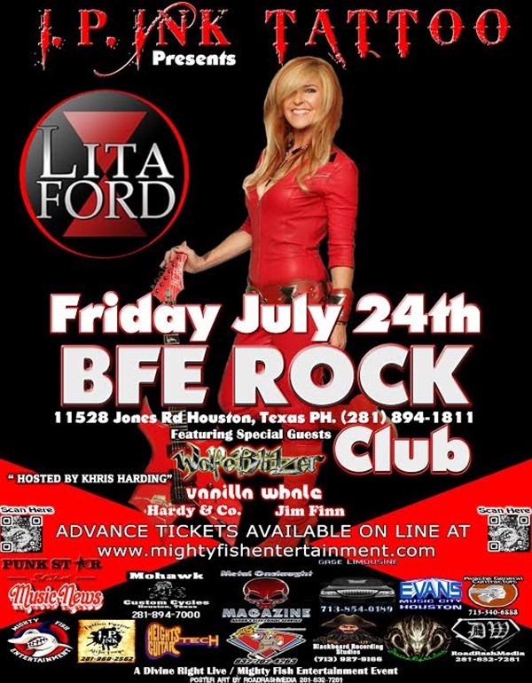 Get Information and buy tickets to I.P. INK TATTOO PRESENTS LITA FORD on BFE Rock Club