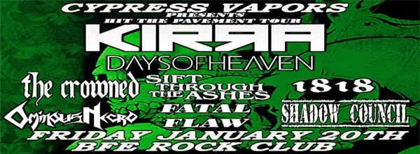 Get Information and buy tickets to Cypress Vapors Presents Hit the Pavement Tour on BFE Rock Club