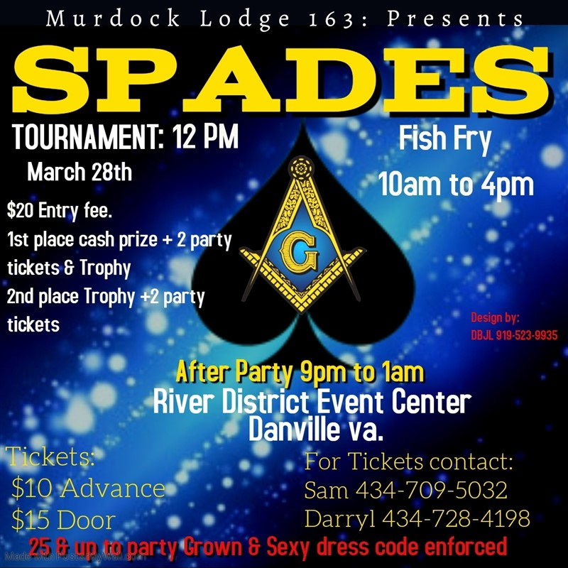 Get Information and buy tickets to Spade tournament After party on Murdock lodge 163
