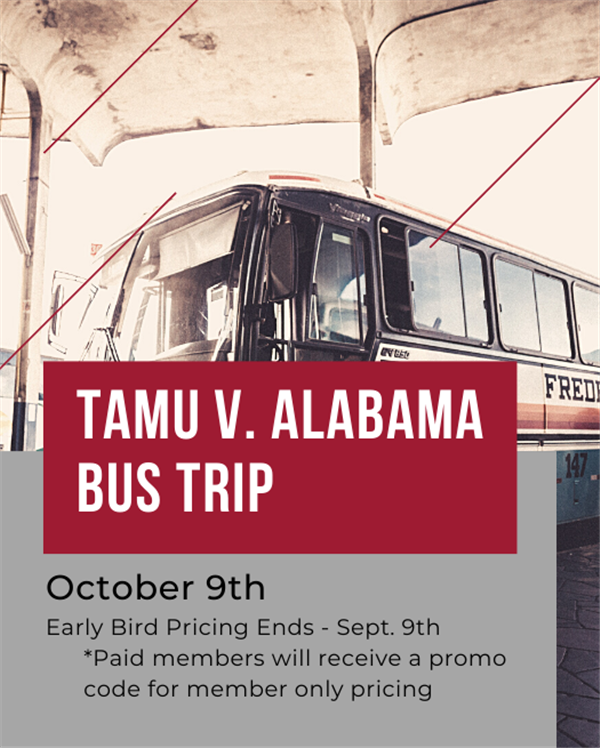 Get Information and buy tickets to Alabama vs. Texas A&M Football Game Bus Trip on www.bamahouston.com