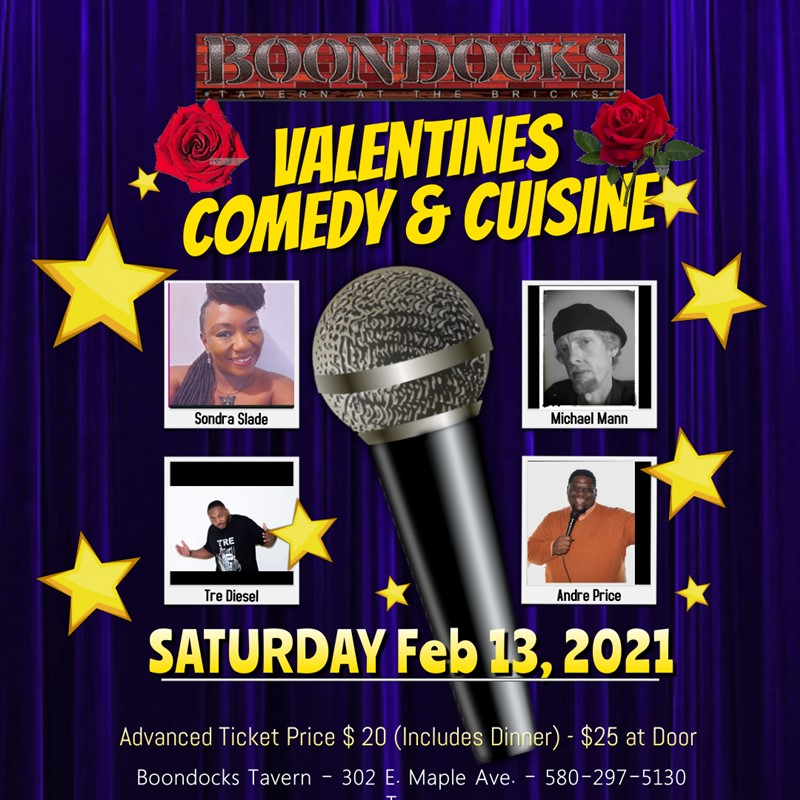 Get Information and buy tickets to Valentines Comedy & Cuisine A Boondocks Special Event on Boondocks Tavern