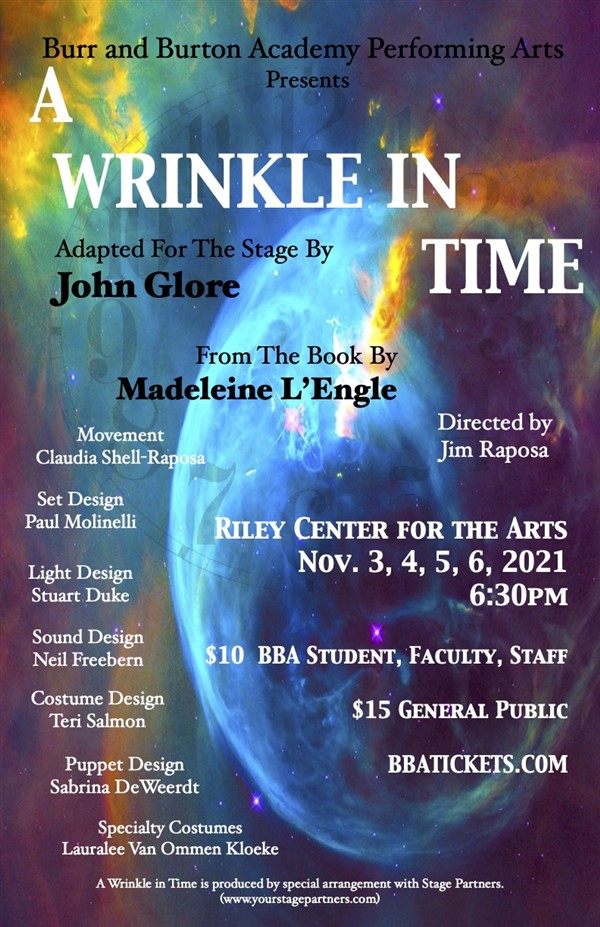 Get Information and buy tickets to A Wrinkle in Time The BBA Fall Play on Burr and Burton Academy