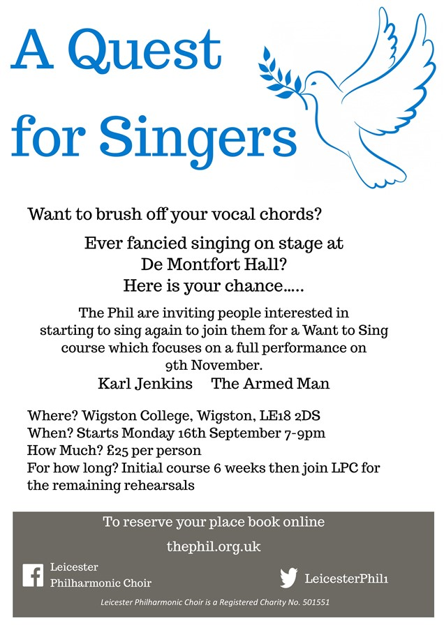 Get Information and buy tickets to A Quest for Singers  on Leicester Philharmonic Choir